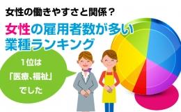 女性の働きやすさと関係?女性の雇用者数が多い業種1位は「医療、福祉」、2位は「卸売、小売業」