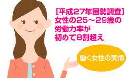 [平成27年国勢調査] 女性の25~29 歳の労働力率が初めて8割超え